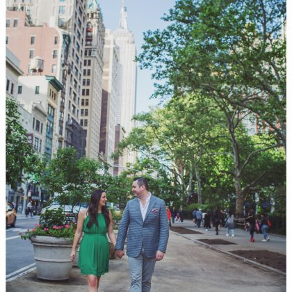 Engaged. Karen and Saxton. Long Island Wedding Photographer. Madison Square Park, NYC.