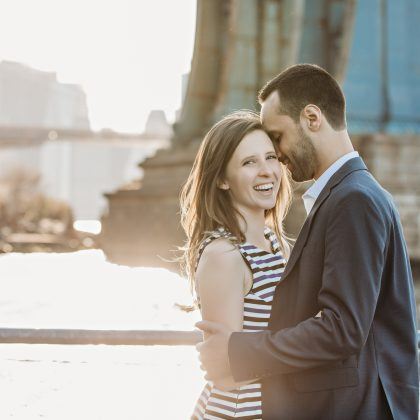 Lindsey and Dan. Engaged. Dumbo. Brooklyn, NY