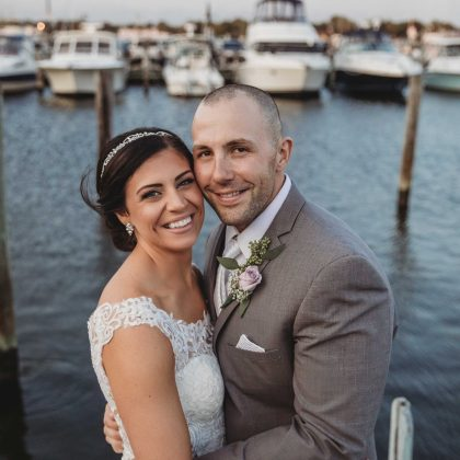 Carly and Brian. Married. Captain Bill's. Long Island Wedding Photographer.